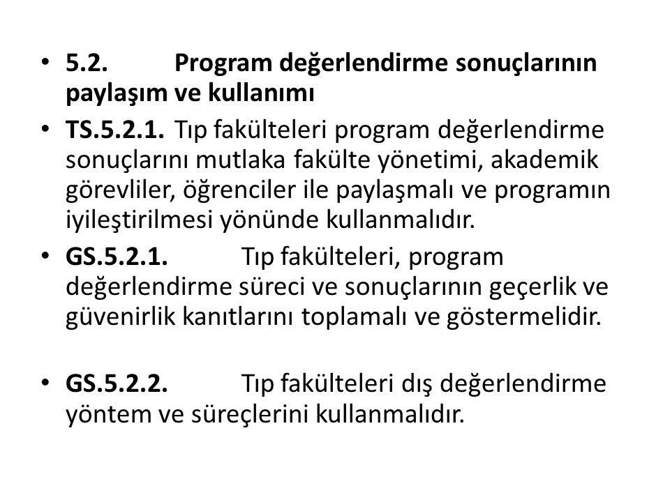 5.2. Program değerlendirme sonuçlarının paylaşım ve kullanımı TS.5.2.1. Tıp fakülteleri program değerlendirme sonuçlarını mutlaka fakülte yönetimi, ak