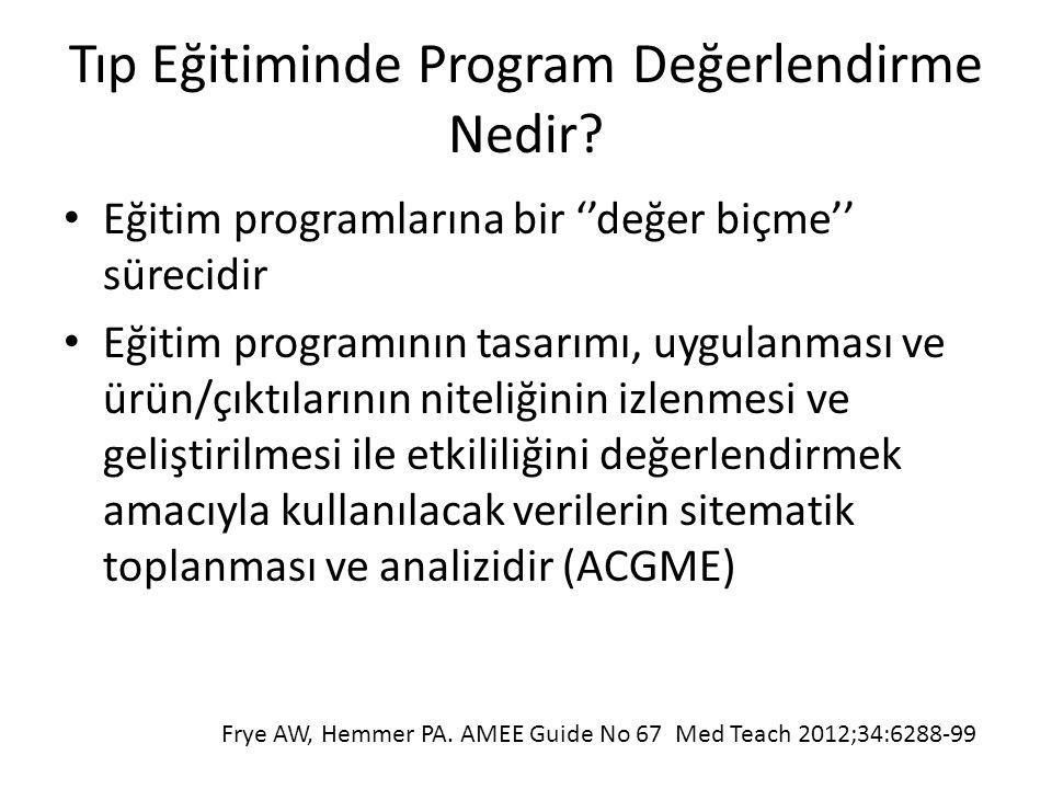 Tıp Eğitiminde Program Değerlendirme Nedir? Eğitim programlarına bir ''değer biçme'' sürecidir Eğitim programının tasarımı, uygulanması ve ürün/çıktıl