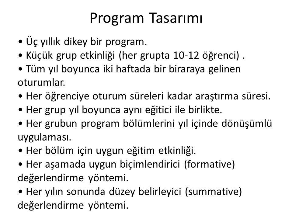 Program Tasarımı Üç yıllık dikey bir program.Küçük grup etkinliği (her grupta 10-12 öğrenci).