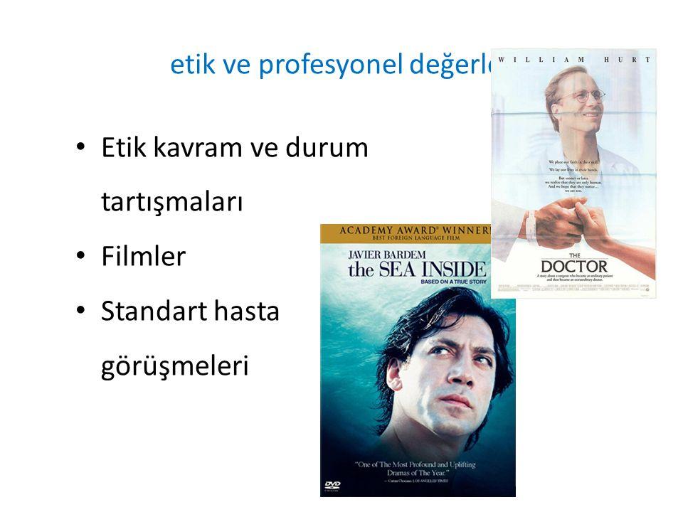Etik kavram ve durum tartışmaları Filmler Standart hasta görüşmeleri etik ve profesyonel değerler
