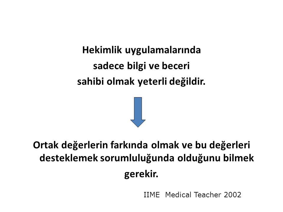Hekimlik uygulamalarında sadece bilgi ve beceri sahibi olmak yeterli değildir.