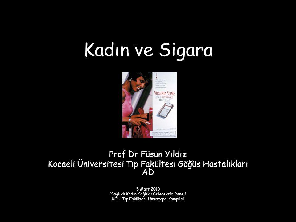 Kadın ve Sigara Prof Dr Füsun Yıldız Kocaeli Üniversitesi Tıp Fakültesi Göğüs Hastalıkları AD 5 Mart 2013 'Sağlıklı Kadın Sağlıklı Gelecektir' Paneli