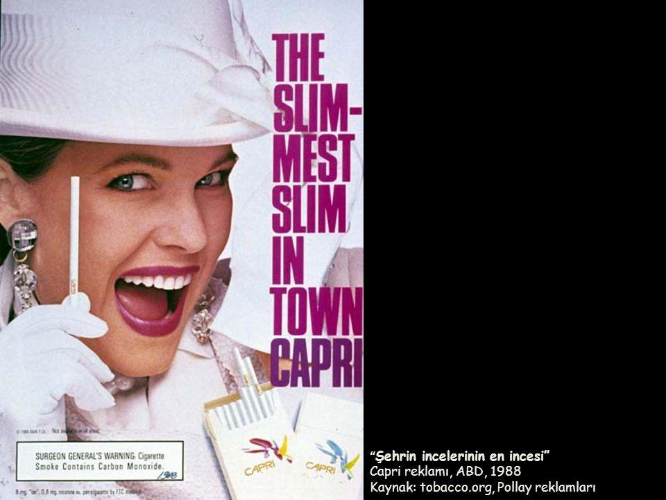 """"""" Şehrin incelerinin en incesi"""" Capri reklamı, ABD, 1988 Kaynak: tobacco.org, Pollay reklamları"""