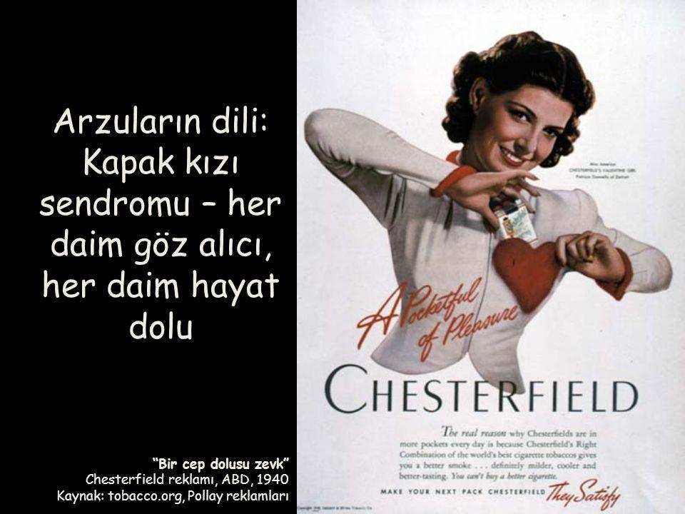 """""""Bir cep dolusu zevk"""" Chesterfield reklamı, ABD, 1940 Kaynak: tobacco.org, Pollay reklamları Arzuların dili: Kapak kızı sendromu – her daim göz alıcı,"""