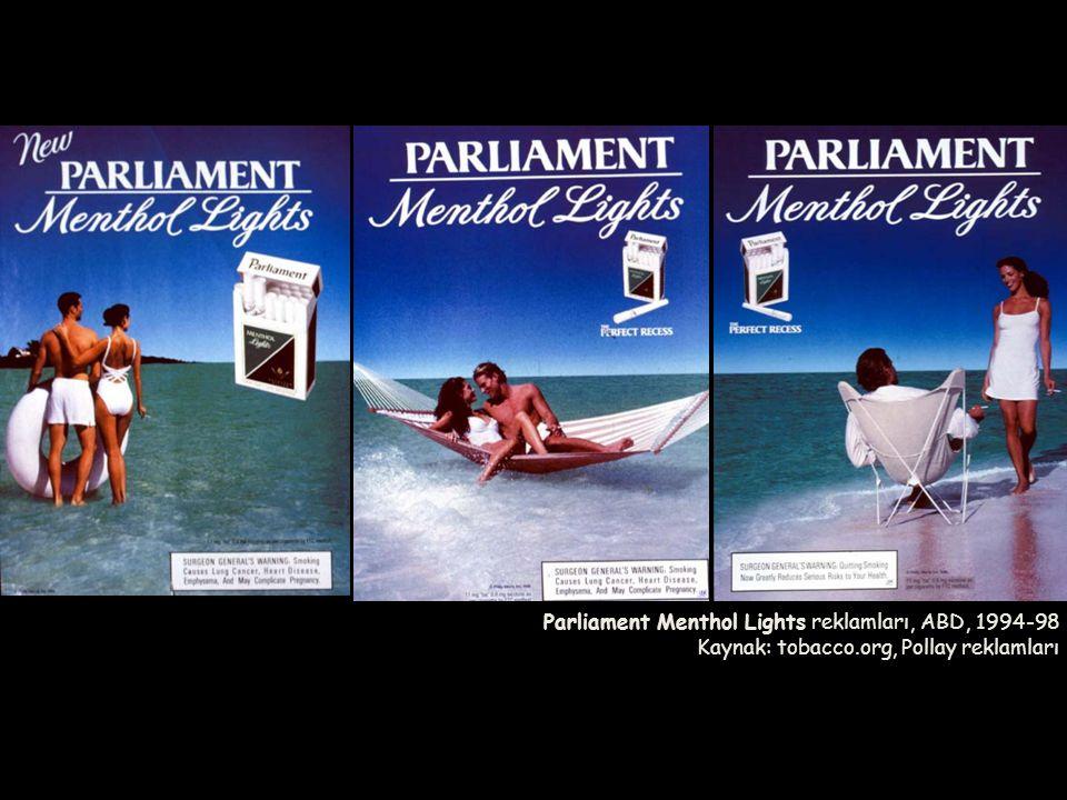 Parliament Menthol Lights reklamları, ABD, 1994-98 Kaynak: tobacco.org, Pollay reklamları