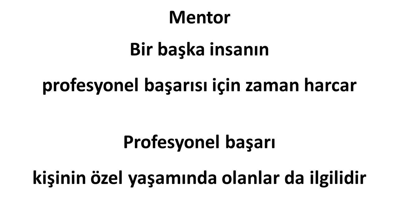 Mentor Bir başka insanın profesyonel başarısı için zaman harcar Profesyonel başarı kişinin özel yaşamında olanlar da ilgilidir