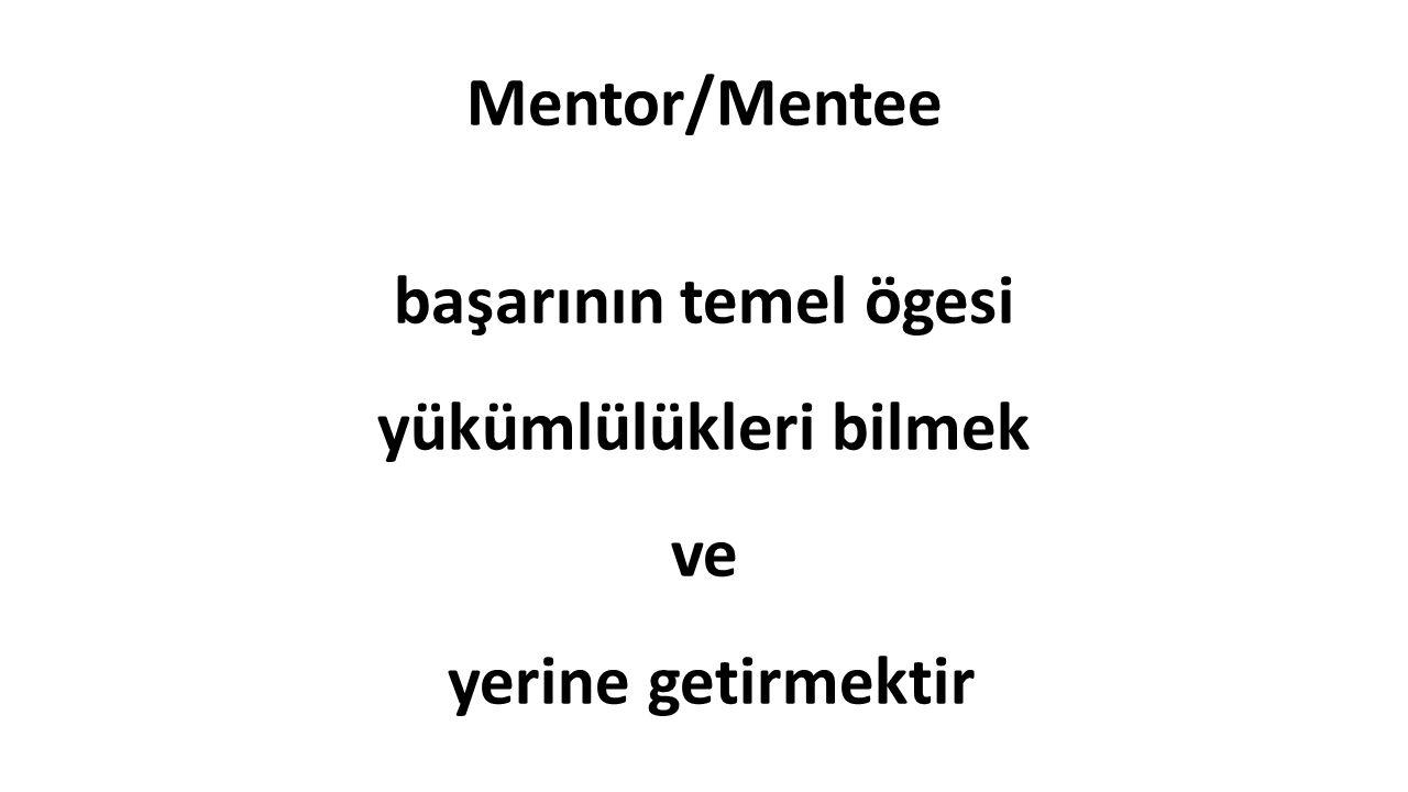 Mentor/Mentee başarının temel ögesi yükümlülükleri bilmek ve yerine getirmektir