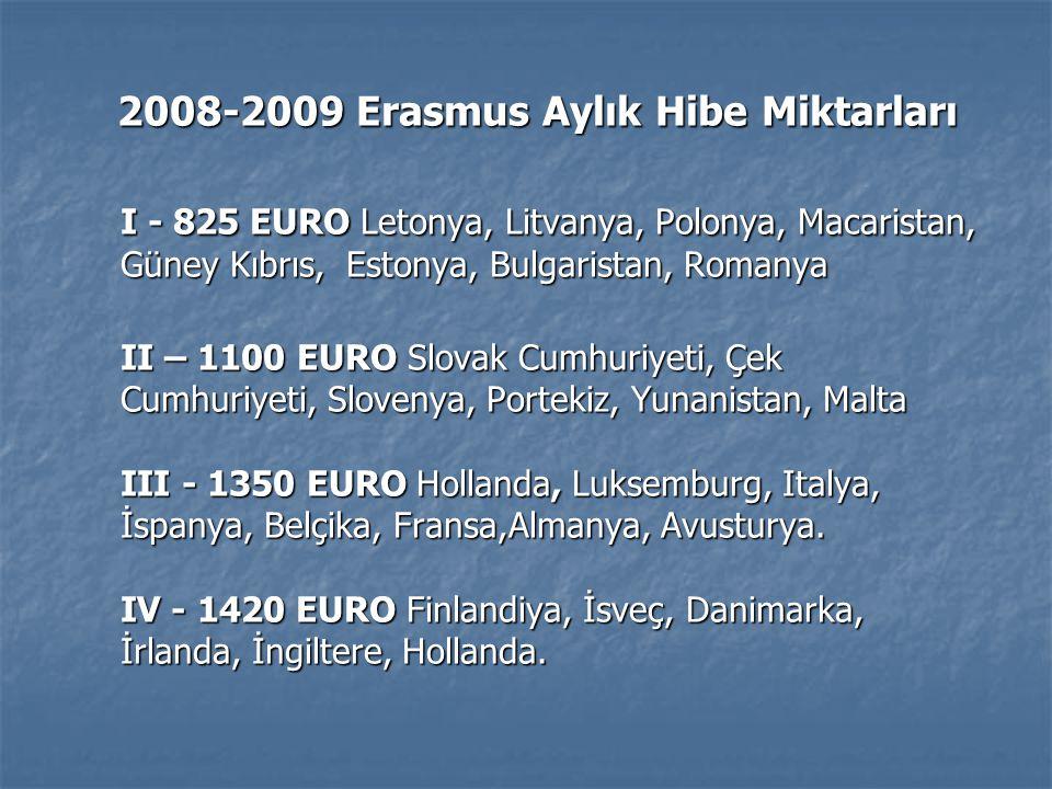 2008-2009 Erasmus Aylık Hibe Miktarları 2008-2009 Erasmus Aylık Hibe Miktarları I - 825 EURO Letonya, Litvanya, Polonya, Macaristan, Güney Kıbrıs, Estonya, Bulgaristan, Romanya II – 1100 EURO Slovak Cumhuriyeti, Çek Cumhuriyeti, Slovenya, Portekiz, Yunanistan, Malta III - 1350 EURO Hollanda, Luksemburg, Italya, İspanya, Belçika, Fransa,Almanya, Avusturya.