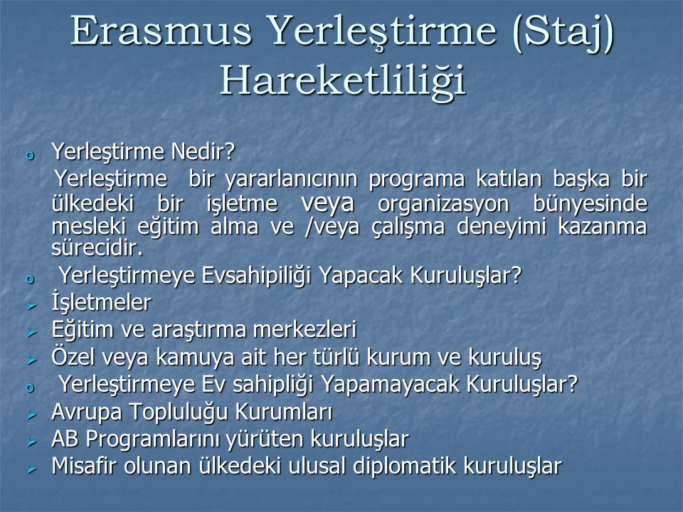 Lisans, yüksek lisans ve doktora öğrencileri için yerleştirme en az 3 ay, en fazla 12 ay Ön lisans öğrencileri için yerleştirme en az 2 hafta, en fazla 12 ay ile sınırlı olup, bir öğrenci Erasmus staj hareketliliği faaliyetinden yükseköğrenim hayatı boyunca yalnız 1 defa faydalanma hakkına sahiptir.