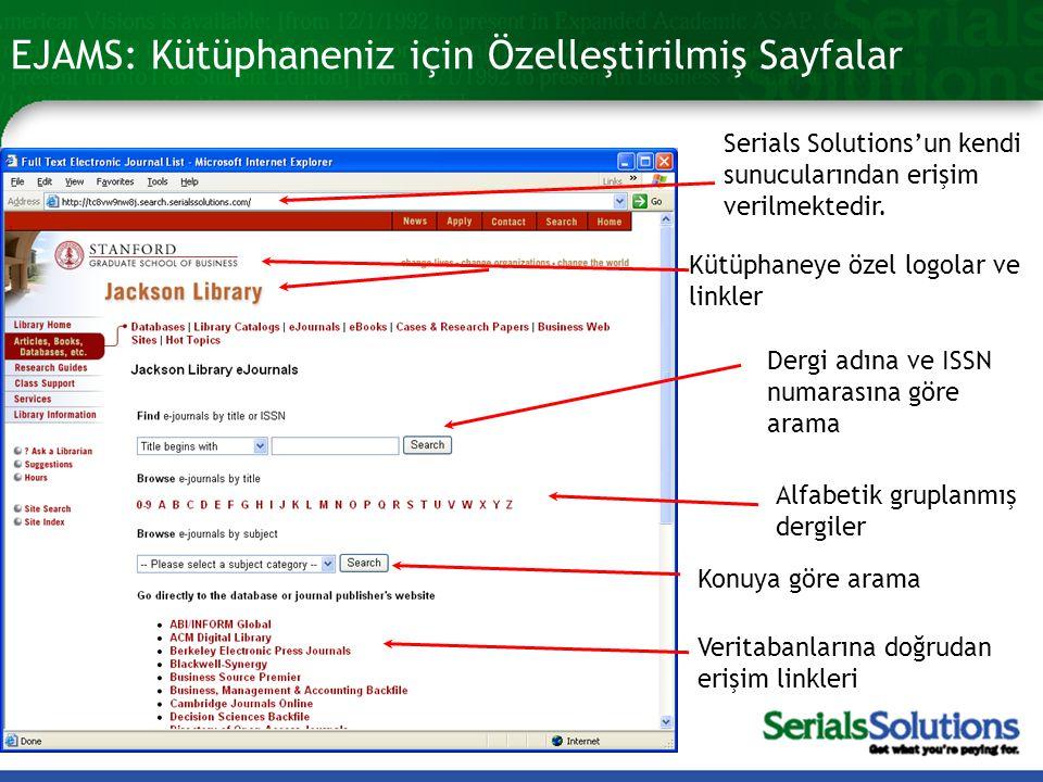 EJAMS: Kütüphaneniz için Özelleştirilmiş Sayfalar Serials Solutions'un kendi sunucularından erişim verilmektedir.