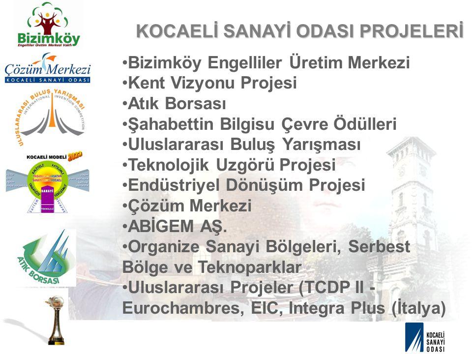 KOCAELİ SANAYİ ODASI PROJELERİ Bizimköy Engelliler Üretim Merkezi Kent Vizyonu Projesi Atık Borsası Şahabettin Bilgisu Çevre Ödülleri Uluslararası Bul