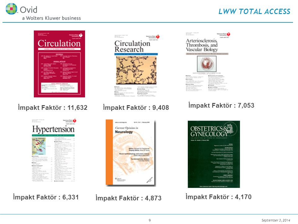 September 3, 2014 9 LWW TOTAL ACCESS İmpakt Faktör : 11,632 İmpakt Faktör : 7,053 İmpakt Faktör : 9,408 İmpakt Faktör : 4,170 İmpakt Faktör : 4,873 İmpakt Faktör : 6,331