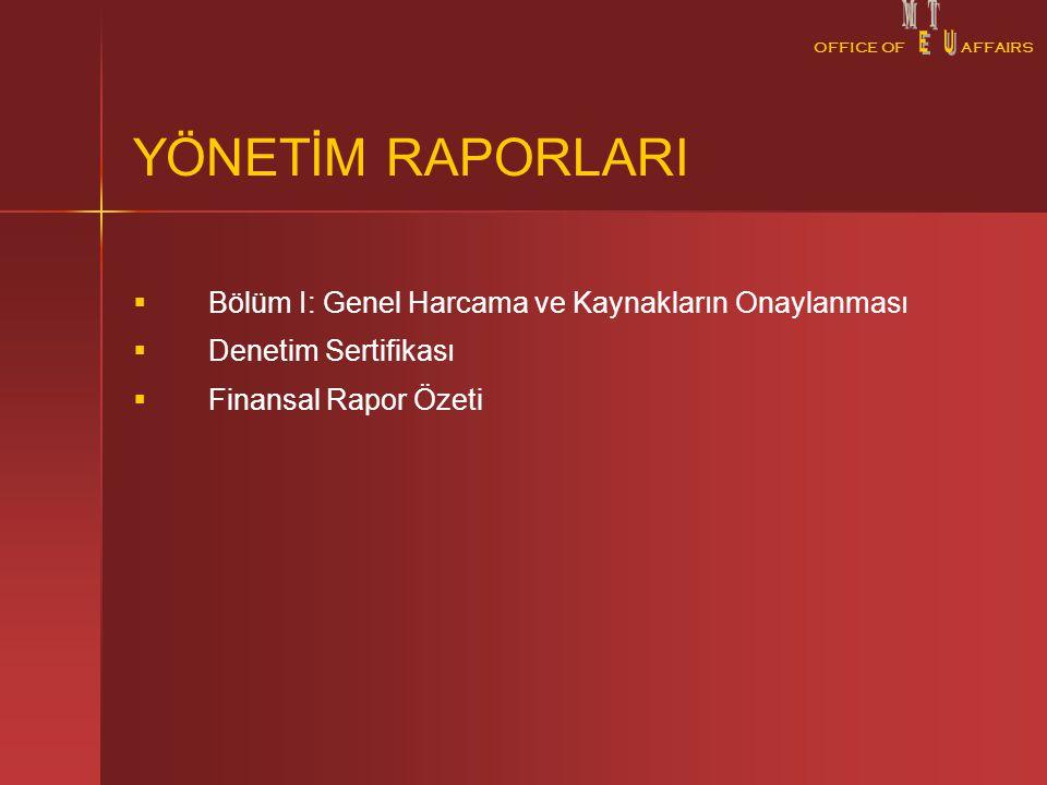 OFFICE OFAFFAIRS YÖNETİM RAPORLARI   Bölüm I: Genel Harcama ve Kaynakların Onaylanması   Denetim Sertifikası   Finansal Rapor Özeti
