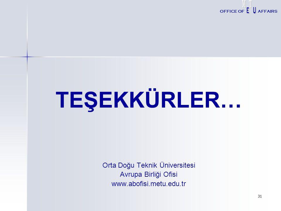 31 TEŞEKKÜRLER… Orta Doğu Teknik Üniversitesi Avrupa Birliği Ofisi www.abofisi.metu.edu.tr OFFICE OFAFFAIRS