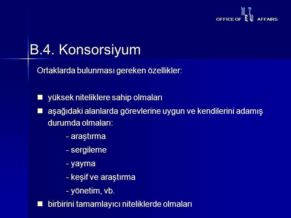 B.4. Konsorsiyum Ortaklarda bulunması gereken özellikler: yüksek niteliklere sahip olmaları aşağıdaki alanlarda görevlerine uygun ve kendilerini adamı