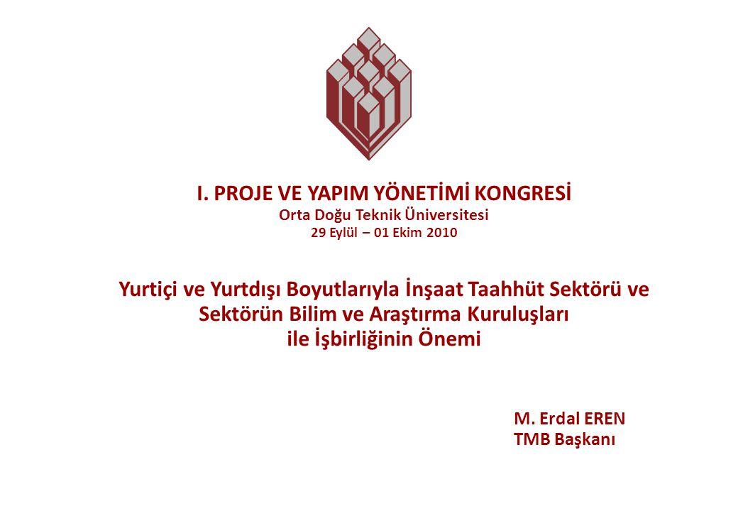 Türkiye Müteahhitler Birliği - TMB 2 İnşaat Sektörünün GSYH İçindeki Payı 0,0 1,0 2,0 3,0 4,0 5,0 6,0 7,0 8,0 6,4 1990 6,9 1995 5,0 2000 5,3 2001 4,6 2002 3,0 2003 3,8 2004 4,0 2005 6,4 2006 6,5 2007 5,9 2008 5,2 2009 5,7 2010 (6 aylık)