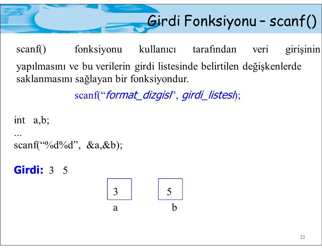 Girdi Fonksiyonu – scanf() scanf() fonksiyonu kullanıcı tarafından veri girişinin 22 yapılmasını ve bu verilerin girdi listesinde belirtilen değişkenl