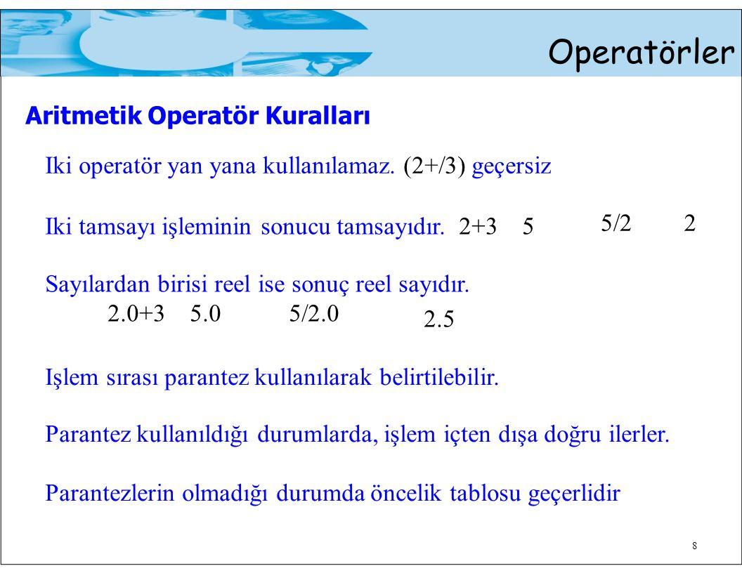 5/22 Operatörler Aritmetik Operatör Kuralları Iki operatör yan yana kullanılamaz. (2+/3) geçersiz 8 Iki tamsayı işleminin sonucu tamsayıdır. 2+3 5 Say