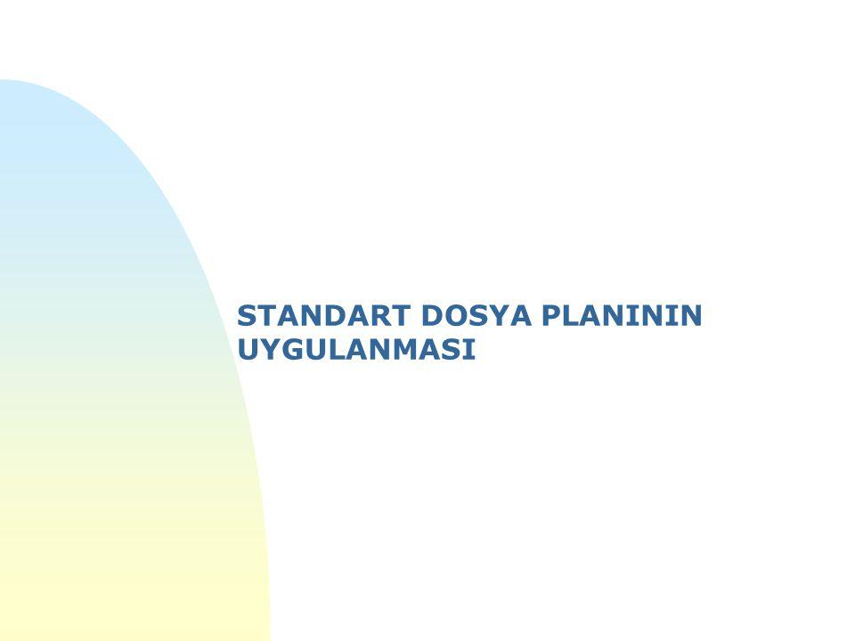 n 2005/7 sayılı Başbakanlık Genelgesi ile kamu kurum ve kuruluşlarında uygulamaya konulan n STANDART DOSYA PLANI n Üniversitelerde 2010 yılı itibariyle kullanılmaya başlanmıştır.