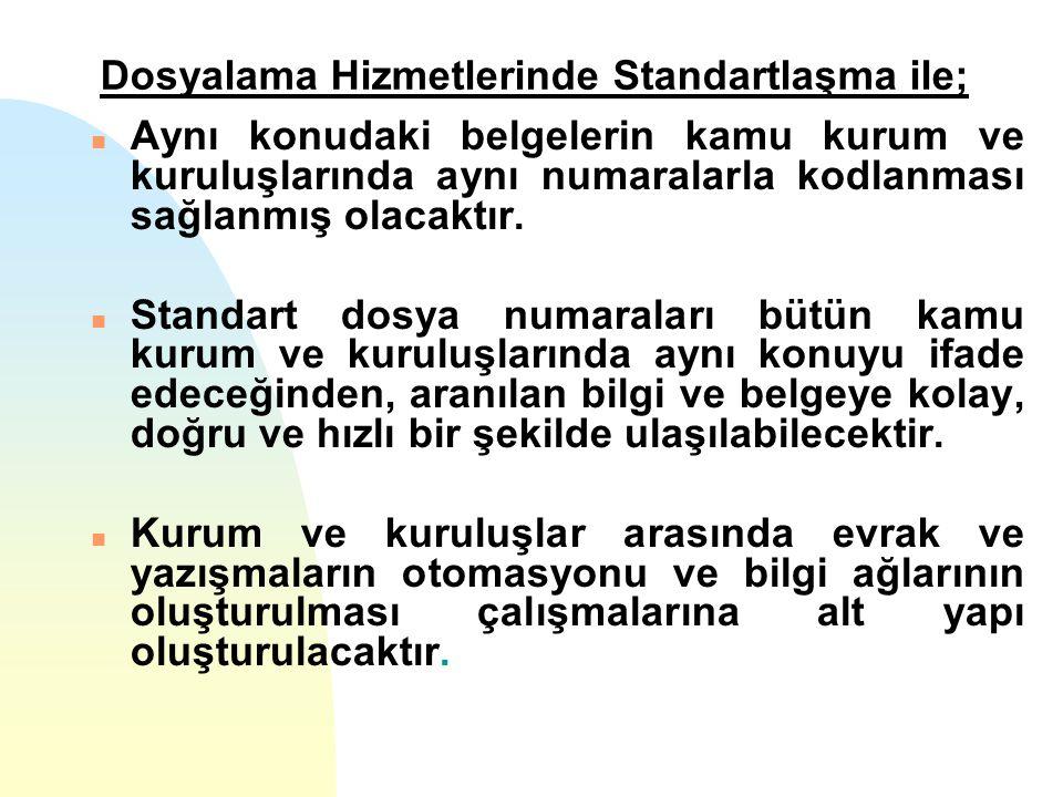 Dosyalama Hizmetlerinde Standartlaşma ile; n Aynı konudaki belgelerin kamu kurum ve kuruluşlarında aynı numaralarla kodlanması sağlanmış olacaktır. n