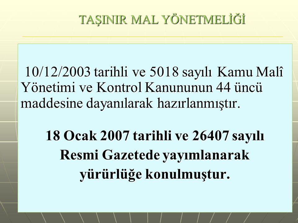 TAŞINIR MAL YÖNETMELİĞİ 10/12/2003 tarihli ve 5018 sayılı Kamu Malî Yönetimi ve Kontrol Kanununun 44 üncü maddesine dayanılarak hazırlanmıştır. 10/12/