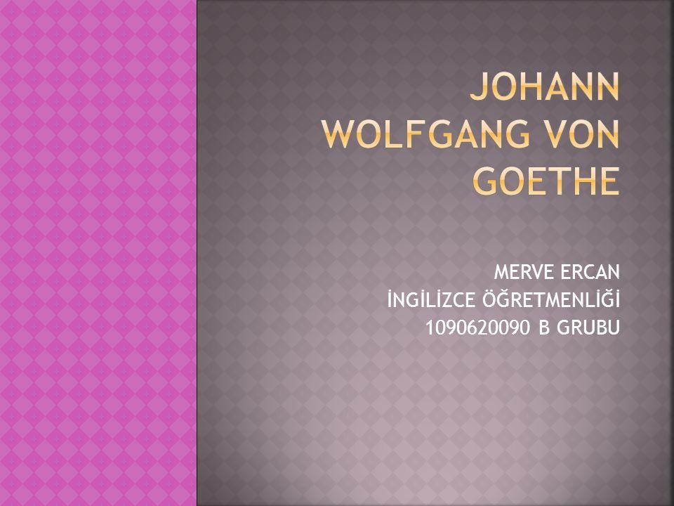  1 Hayatı 1 Hayatı  1.1 Çocukluğu ve gençliği 1.1 Çocukluğu ve gençliği  1.2 Leipzig 1.2 Leipzig  1.3 Frankfurt ve Strassburg 1.3 Frankfurt ve Strassburg  1.4 'Fırtına ve Coşku' dönemi 1.4 'Fırtına ve Coşku' dönemi  1.5 Weimar'da başkanlık 1.5 Weimar'da başkanlık  1.6 Devlet hizmeti 1.6 Devlet hizmeti  1.7 Edebiyat ve doğa bilimleri 1.7 Edebiyat ve doğa bilimleri  1.8 Charlotte von Stein ile ilişkisi 1.8 Charlotte von Stein ile ilişkisi  1.9 İtalya seyahati 1.9 İtalya seyahati  1.10 Weimar klasik dönem 1.10 Weimar klasik dönem  1.11 Sonraki Goethe 1.11 Sonraki Goethe  1.12 Yoğunlaşması ve çalışmalarını tamamlaması 1.12 Yoğunlaşması ve çalışmalarını tamamlaması  1.13 Son çalışmaları ve seyahatleri 1.13 Son çalışmaları ve seyahatleri  1.14 Ölümü 1.14 Ölümü  2 Edebiyat ve müziğe etkisi 2 Edebiyat ve müziğe etkisi