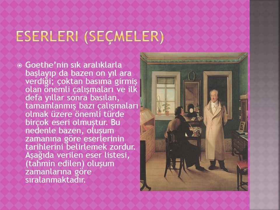  Goethe'nin sık aralıklarla başlayıp da bazen on yıl ara verdiği; çoktan basıma girmiş olan önemli çalışmaları ve ilk defa yıllar sonra basılan, tamamlanmış bazı çalışmaları olmak üzere önemli türde birçok eseri olmuştur.