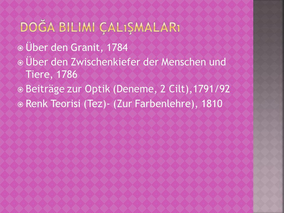  Über den Granit, 1784  Über den Zwischenkiefer der Menschen und Tiere, 1786  Beiträge zur Optik (Deneme, 2 Cilt),1791/92  Renk Teorisi (Tez)- (Zur Farbenlehre), 1810