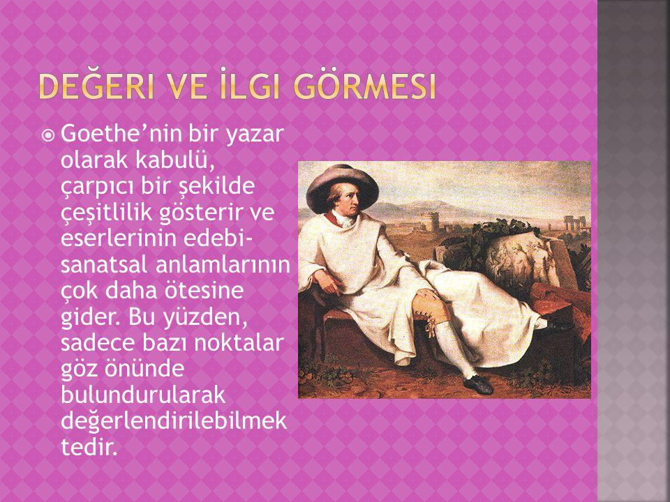  Goethe'nin bir yazar olarak kabulü, çarpıcı bir şekilde çeşitlilik gösterir ve eserlerinin edebi- sanatsal anlamlarının çok daha ötesine gider. Bu y