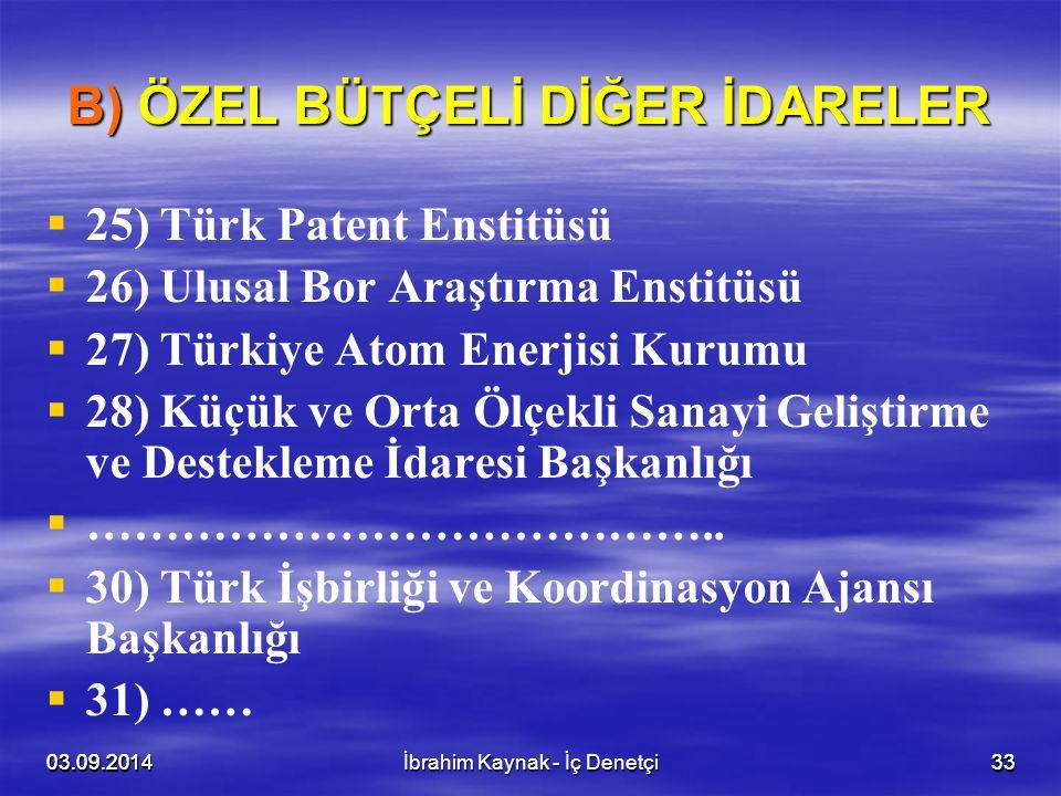 03.09.20143303.09.20143303.09.2014İbrahim Kaynak - İç Denetçi33 B) ÖZEL BÜTÇELİ DİĞER İDARELER   25) Türk Patent Enstitüsü   26) Ulusal Bor Araştı