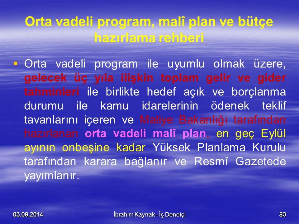 03.09.20148303.09.20148303.09.2014İbrahim Kaynak - İç Denetçi83 Orta vadeli program, malî plan ve bütçe hazırlama rehberi   Orta vadeli program ile
