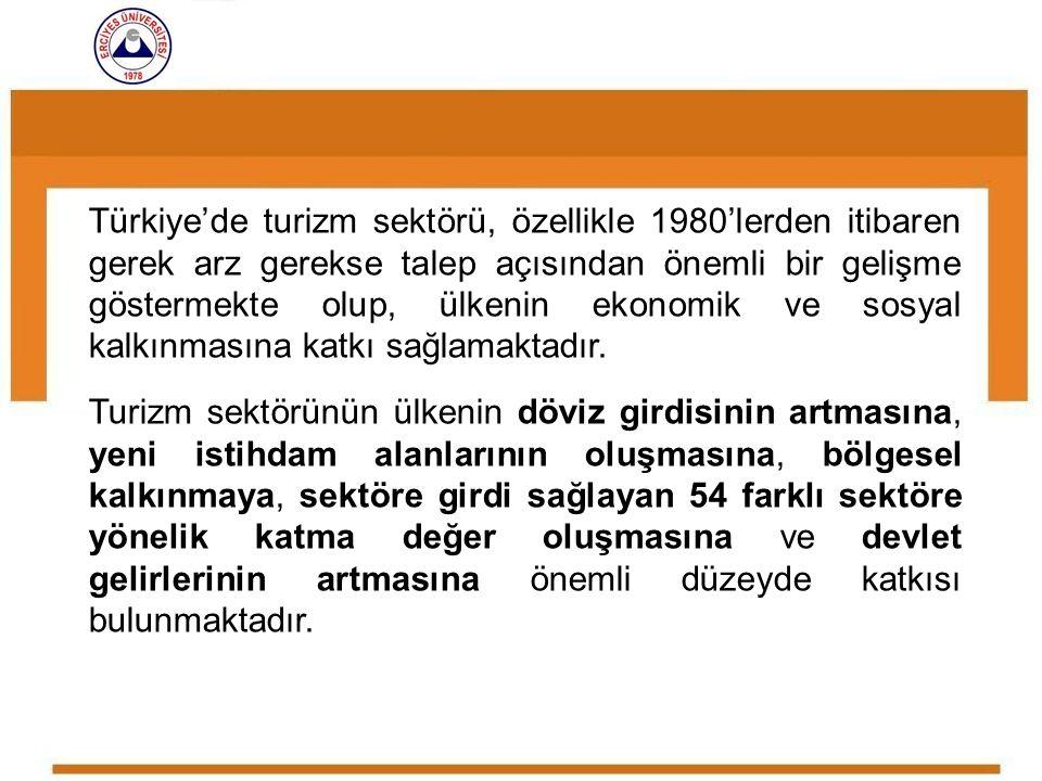 Türkiye'de turizm sektörü, özellikle 1980'lerden itibaren gerek arz gerekse talep açısından önemli bir gelişme göstermekte olup, ülkenin ekonomik ve s