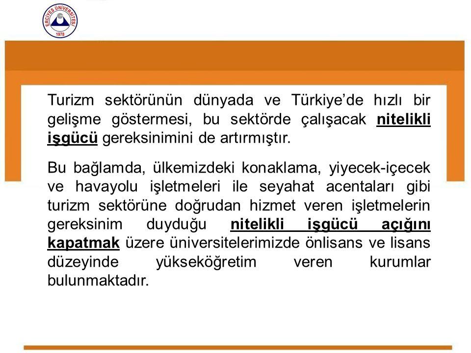 Turizm sektörünün dünyada ve Türkiye'de hızlı bir gelişme göstermesi, bu sektörde çalışacak nitelikli işgücü gereksinimini de artırmıştır. Bu bağlamda