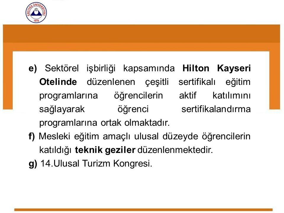 e) Sektörel işbirliği kapsamında Hilton Kayseri Otelinde düzenlenen çeşitli sertifikalı eğitim programlarına öğrencilerin aktif katılımını sağlayarak