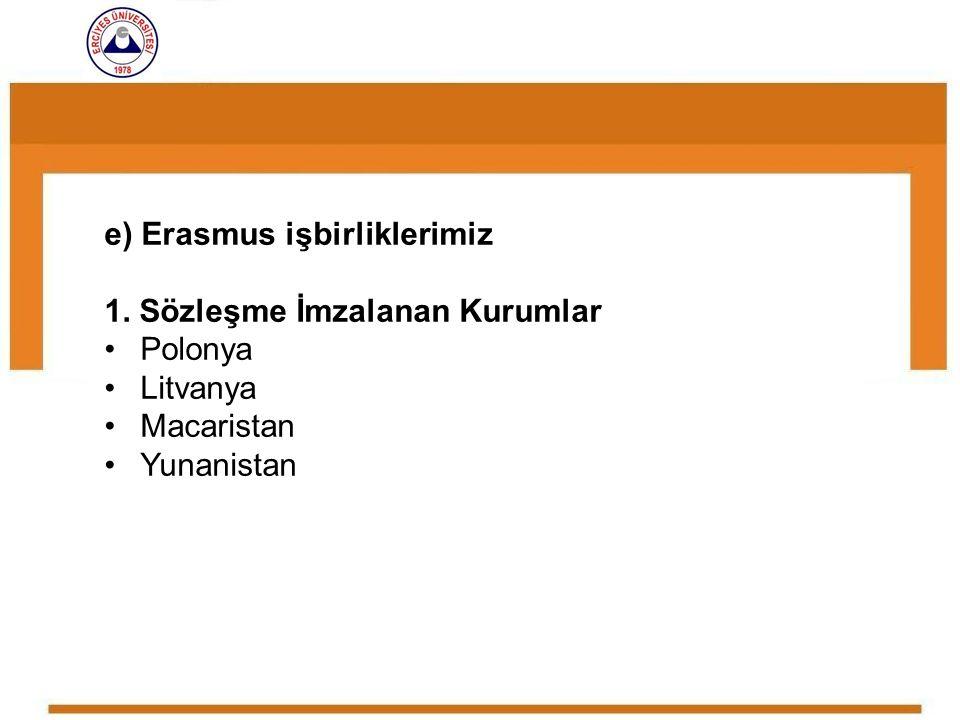 e) Erasmus işbirliklerimiz 1. Sözleşme İmzalanan Kurumlar Polonya Litvanya Macaristan Yunanistan