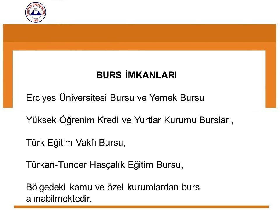 BURS İMKANLARI Erciyes Üniversitesi Bursu ve Yemek Bursu Yüksek Öğrenim Kredi ve Yurtlar Kurumu Bursları, Türk Eğitim Vakfı Bursu, Türkan-Tuncer Hasça