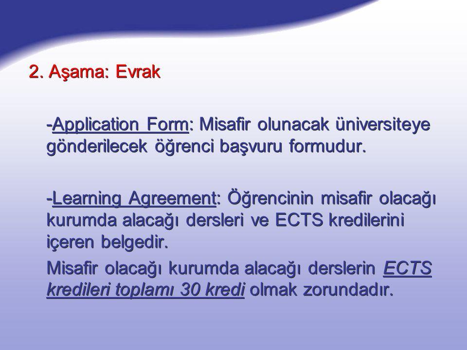 2. Aşama: Evrak -Application Form: Misafir olunacak üniversiteye gönderilecek öğrenci başvuru formudur. -Learning Agreement: Öğrencinin misafir olacağ