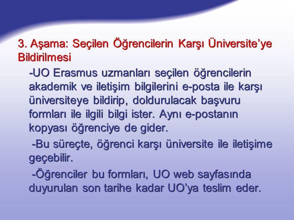 3. Aşama: Seçilen Öğrencilerin Karşı Üniversite'ye Bildirilmesi -UO Erasmus uzmanları seçilen öğrencilerin akademik ve iletişim bilgilerini e-posta il