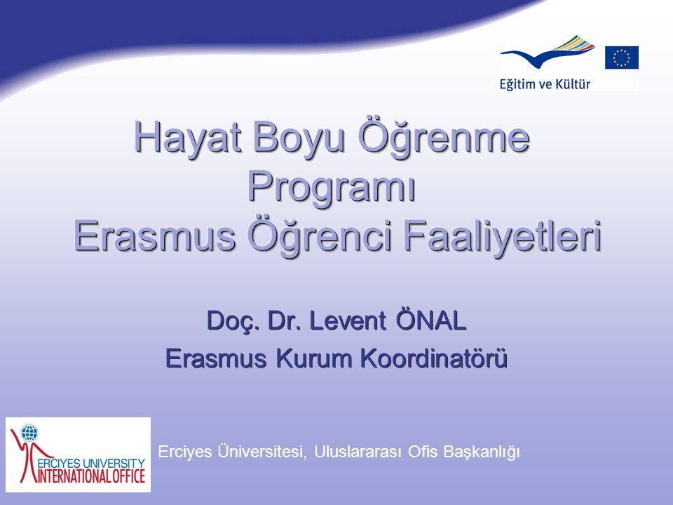 Doç. Dr. Levent ÖNAL Erasmus Kurum Koordinatörü Doç. Dr. Levent ÖNAL Erasmus Kurum Koordinatörü Şubat 2007 Erciyes Üniversitesi, Uluslararası Ofis Baş