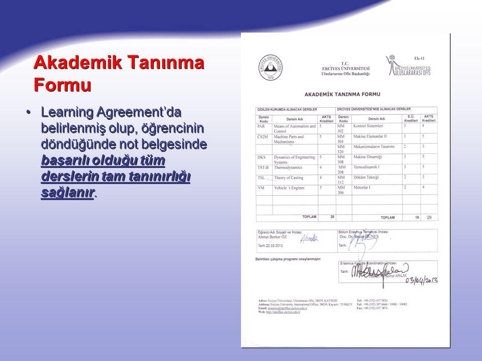 Akademik Tanınma Formu Learning Agreement'da belirlenmiş olup, öğrencinin döndüğünde not belgesinde başarılı olduğu tüm derslerin tam tanınırlığı sağlanır.