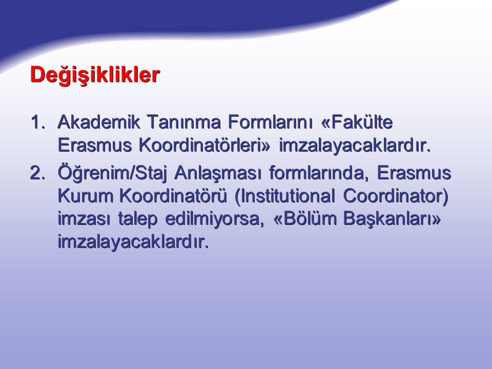 Değişiklikler 1.Akademik Tanınma Formlarını «Fakülte Erasmus Koordinatörleri» imzalayacaklardır. 2.Öğrenim/Staj Anlaşması formlarında, Erasmus Kurum K