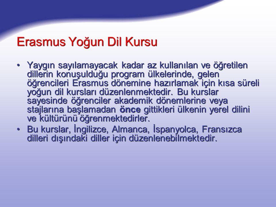 Erasmus Yoğun Dil Kursu Yaygın sayılamayacak kadar az kullanılan ve öğretilen dillerin konuşulduğu program ülkelerinde, gelen öğrencileri Erasmus döne