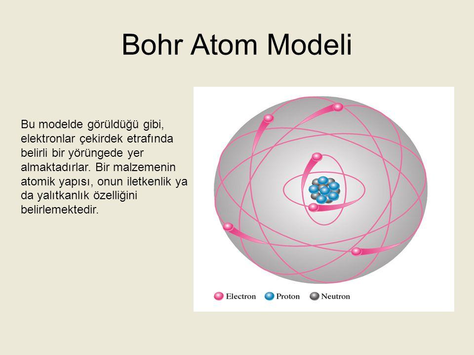 Bohr Atom Modeli Bu modelde görüldüğü gibi, elektronlar çekirdek etrafında belirli bir yörüngede yer almaktadırlar. Bir malzemenin atomik yapısı, onun
