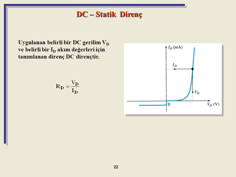 DC – Statik Direnç Uygulanan belirli bir DC gerilim V D ve belirli bir I D akım değerleri için tanımlanan direnç DC dirençtir. 22