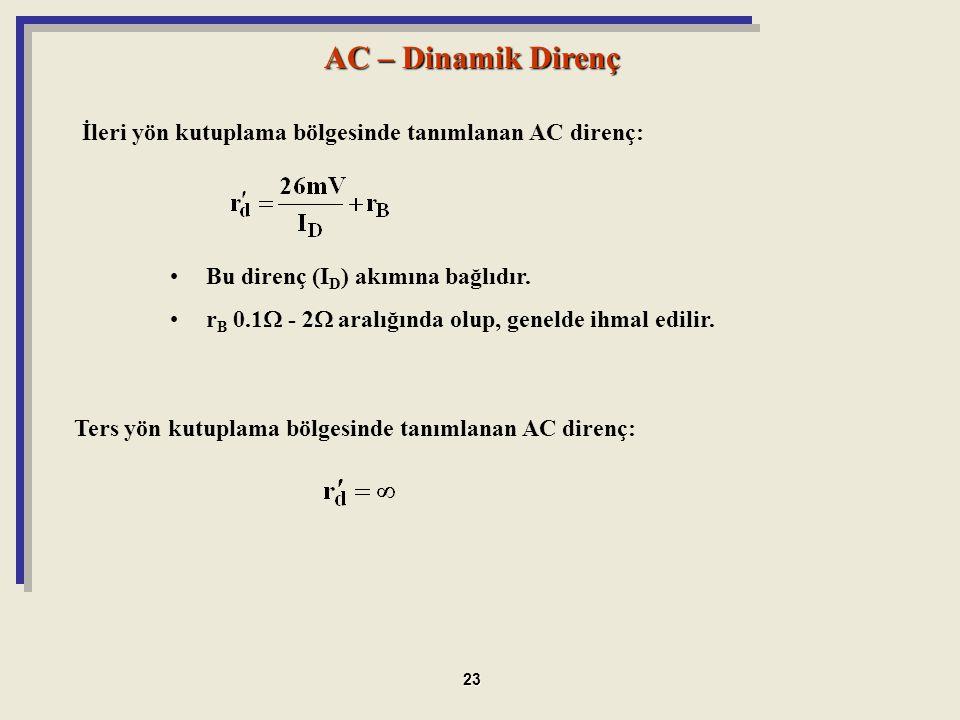 Bu direnç (I D ) akımına bağlıdır. r B 0.1  - 2  aralığında olup, genelde ihmal edilir. AC – Dinamik Direnç İleri yön kutuplama bölgesinde tanımlana