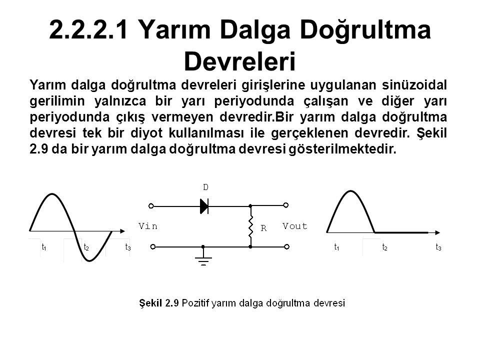 2.2.2.1 Yarım Dalga Doğrultma Devreleri Yarım dalga doğrultma devreleri girişlerine uygulanan sinüzoidal gerilimin yalnızca bir yarı periyodunda çalış