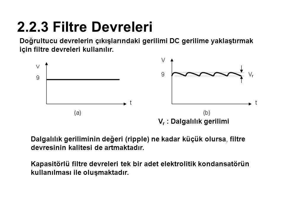 2.2.3 Filtre Devreleri Doğrultucu devrelerin çıkışlarındaki gerilimi DC gerilime yaklaştırmak için filtre devreleri kullanılır. V r : Dalgalılık geril