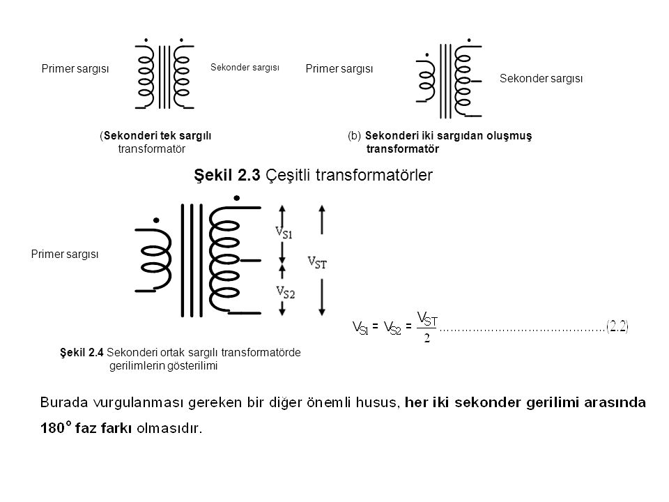 Örnek 2.2 Şekil 2.5 (a) da verilen sekonderi ortak sargılı transformatörün girişine Şekil 2.5 (b) de gösterilen tepe değeri 310 V olan bir gerilim uygulanmaktadır.