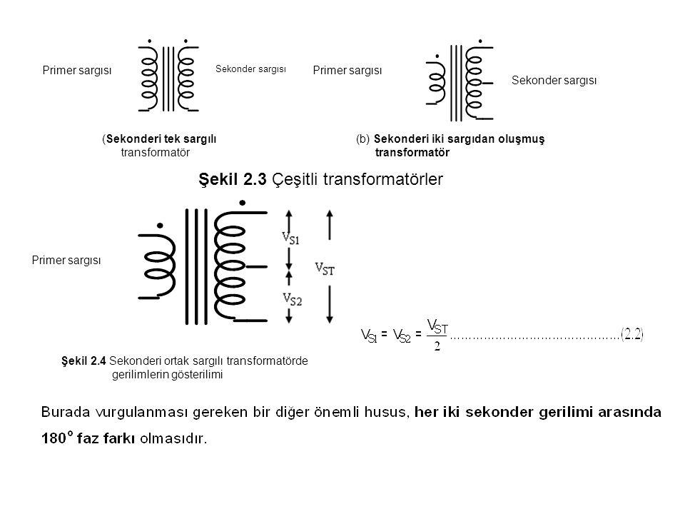 Primer sargısı Sekonder sargısı (Sekonderi tek sargılı transformatör Primer sargısı Sekonder sargısı (b) Sekonderi iki sargıdan oluşmuş transformatör