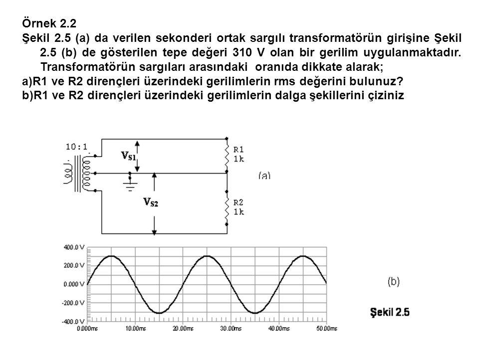 Örnek 2.2 Şekil 2.5 (a) da verilen sekonderi ortak sargılı transformatörün girişine Şekil 2.5 (b) de gösterilen tepe değeri 310 V olan bir gerilim uyg